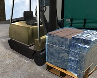 loading forklift lorry pallet 3d model
