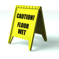 plastic floor sign 3d model