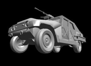 armoured car hummer 3d lwo