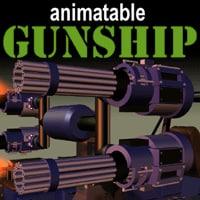 gunship tank guns 3d model