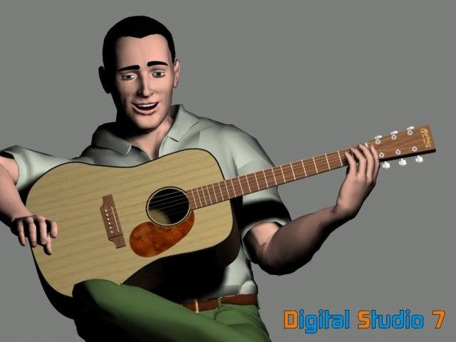 3d model martin dr acoustic guitar