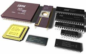 computer chips cpus ram 3d model
