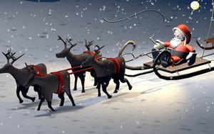 3d santa claus reindeers