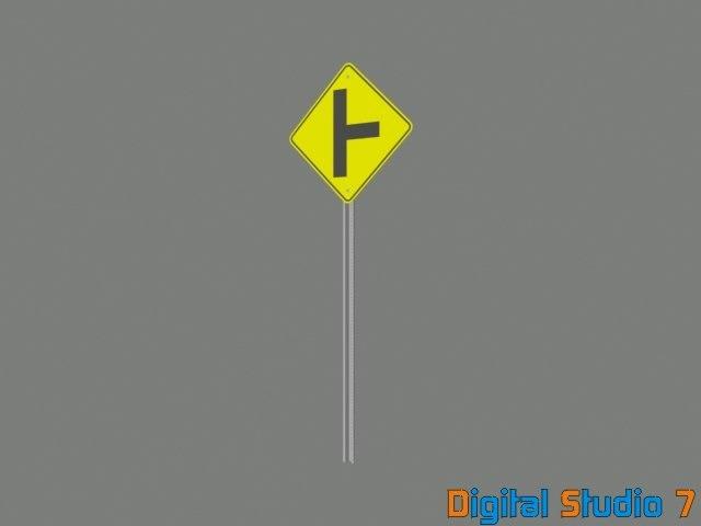 adjacent road sign 3d max