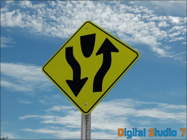 3d divided road sign
