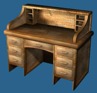 3d wooden writing desk model
