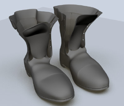 3d model of polygonal old boots