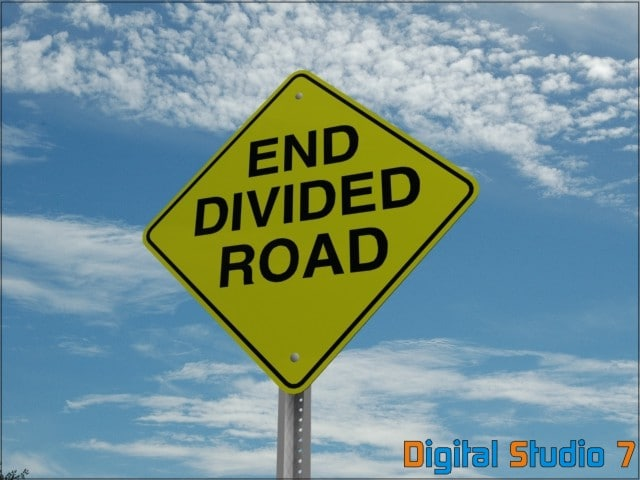 end divided road sign 3d max