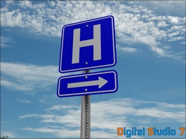 hospital sign 3d model