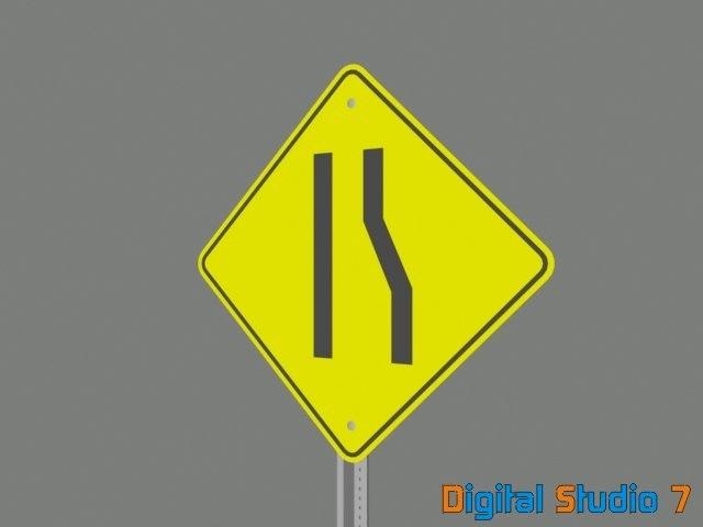 3d lane ending sign model