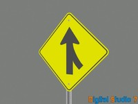 3d model lane merging sign