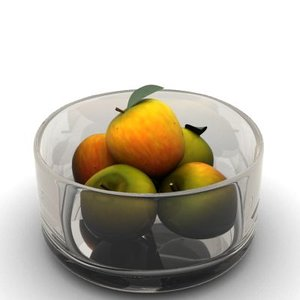 3dsmax apples glass bowl