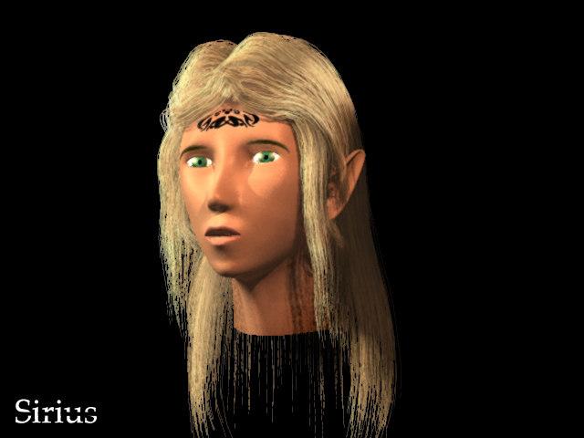 3d elven lightwave hairs model