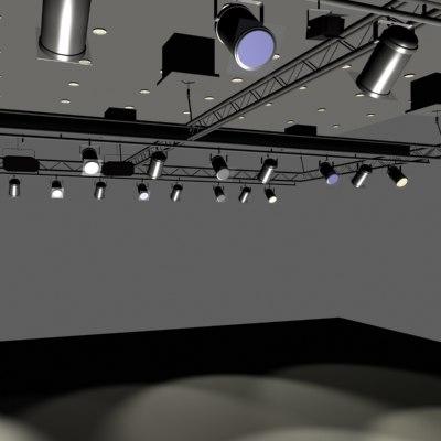 interior trussed lighting 3d model