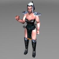 human barbarian woman 3d model