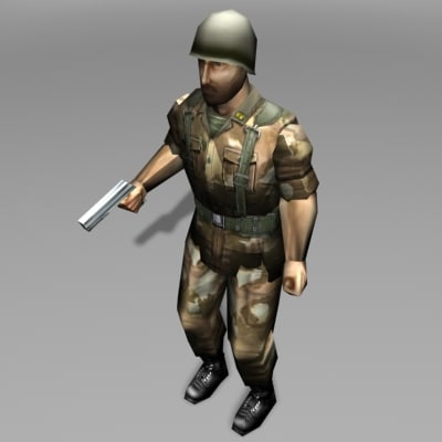 3d model soldier army military