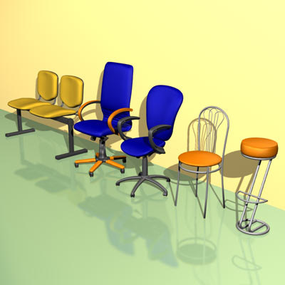 bar chairs 3ds