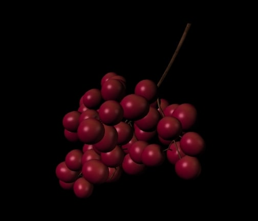 3d grapes red model
