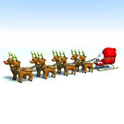 lightwave santa sled reindeers