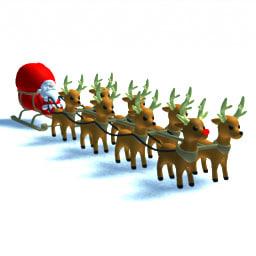 santa claus sled reindeers 3d 3ds