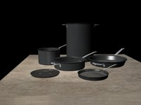 cookware pot pan 3d 3ds