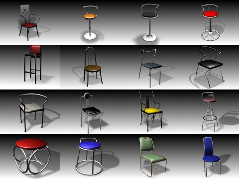 chair furniture collections 3d model
