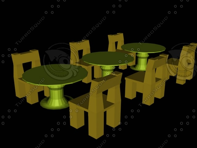 3d tables chairs