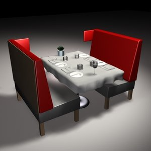 booths silverware restaurant table 3d model
