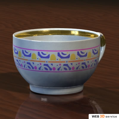 3d cup photorealistic shaders model