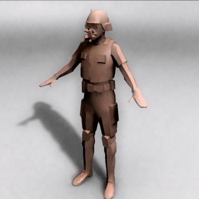 human soldier military 3d obj
