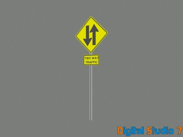 3d way traffic sign