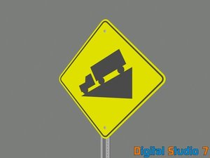 3d model steep incline sign