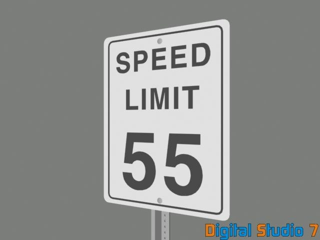 3d speed limit 55 sign model