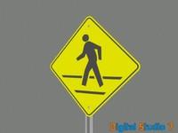 3d model cross walk sign