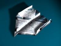 3d folded paper plane model