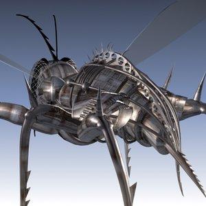 3d cyber wasp flying model