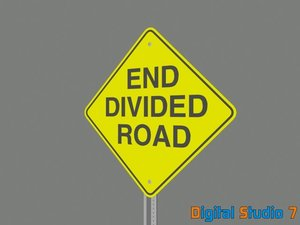 end divided road sign 3d model