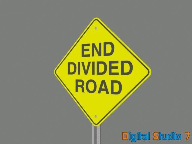 end divided road sign 3d model