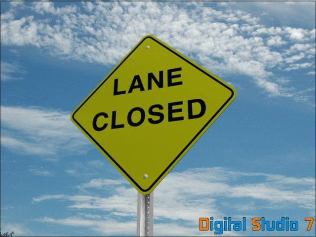 3ds lane closed sign