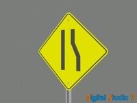 3d lane ends sign