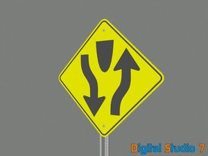 3d 3ds divided road sign