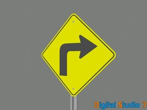 3ds max right turn ahead sign