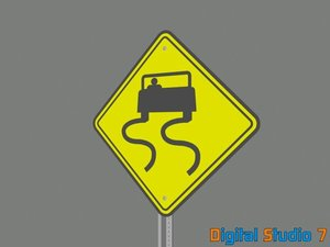 slippery road sign 3d model