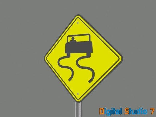 slippery road sign 3d model
