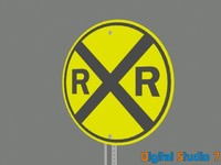 railroad crossing sign 3d model