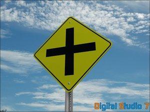 3d model roads crossing ahead sign