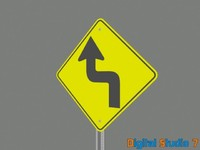 bend road sign 3d model