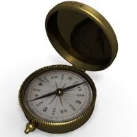 brass compass old 3d model