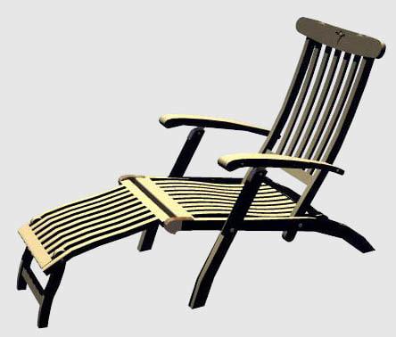 3d model teak lounger chair