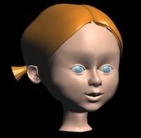 little girl face 3d max